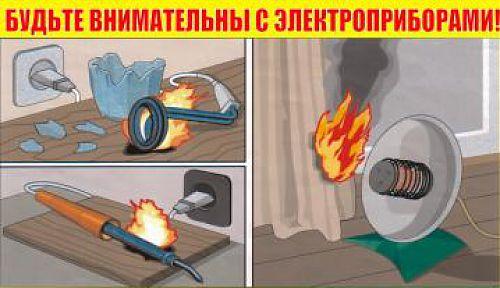 Что делать, если загорелся электроприбор?